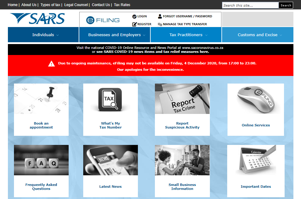 SARS Website home page